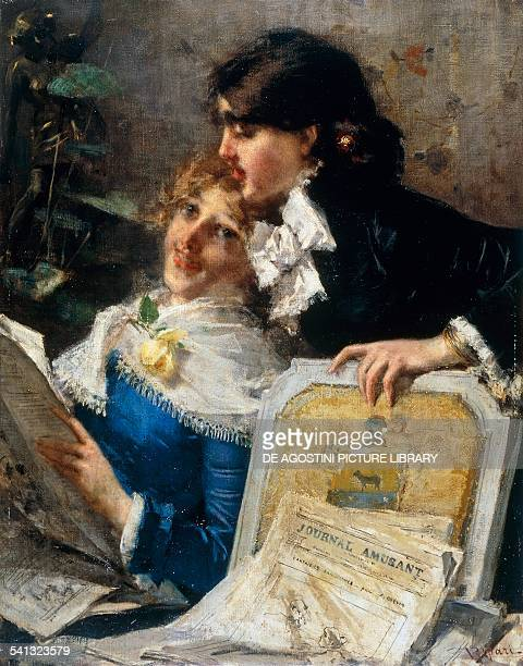 Lovers Virgilio Ripari oil on canvas 96x76 cm Italy 19th century