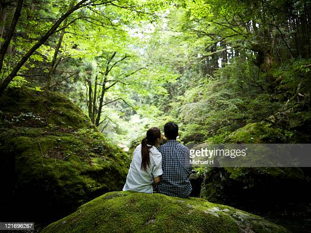 Lovers who draws close in forest