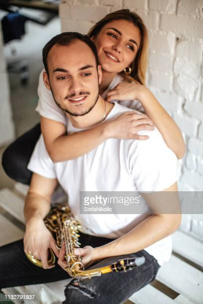 Lovers with saxophone