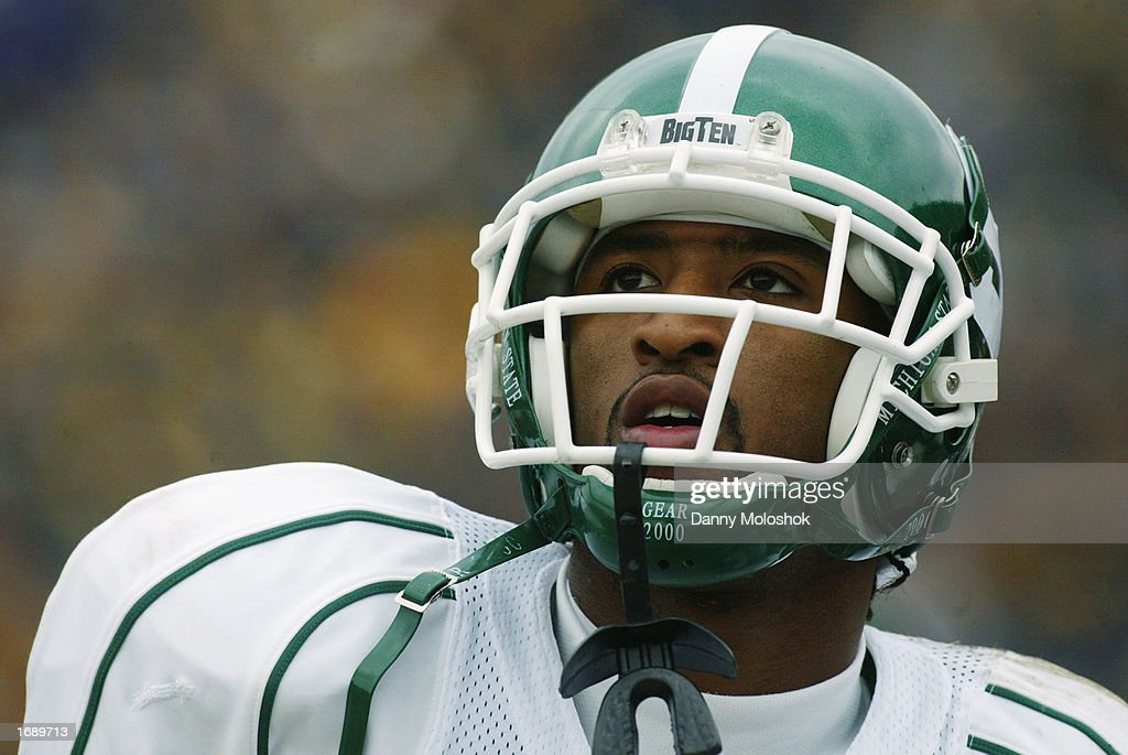 BJ Lovett #6 of the Michigan State Spartans looks on during the game against the Michigan Wolverines on November 2, 2002 at Michigan Stadium in Ann Arbor, Michigan. Michigan won 49-3.