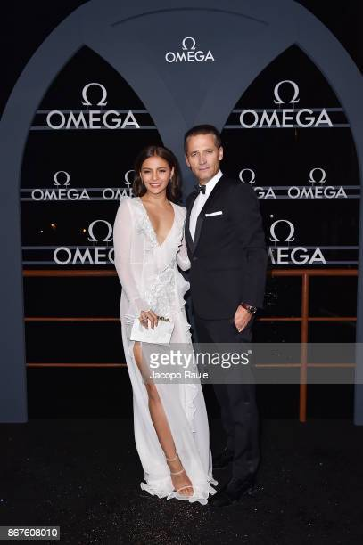 Lovi Poe and Raynald Aeschlimann attend the OMEGA Aqua Terra at Palazzo Pisani Moretta on October 28 2017 in Venice Italy