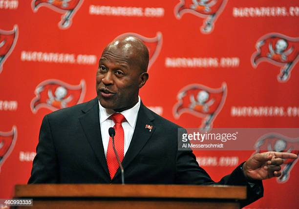 Lovie Smith speaks as he is introduced as the new coach of Tampa Bay Buccaneers at a press conference January 6 2014 at at the team training center...