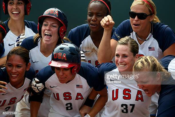 Lovieanne Jung Andrea Duran Caitlin Lowe Jessica Mendoza Natasha Watley Lauren Lappin Jennie Finch and Stacey Nuveman of the United States wait at...
