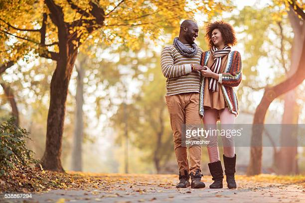 Loving African American couple taking a walk in autumn park.