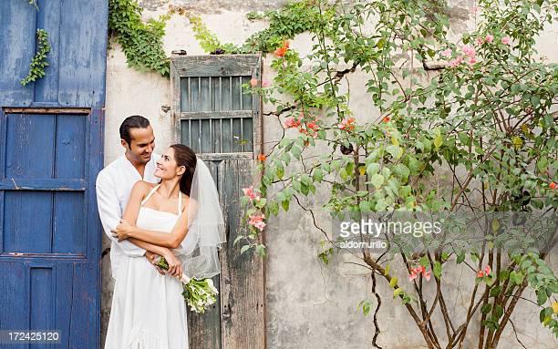 Loving and caring wedding couple