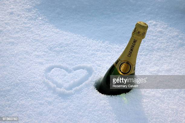 Loving champagne celebration in the snow