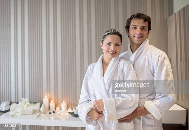 Loving couple at the spa