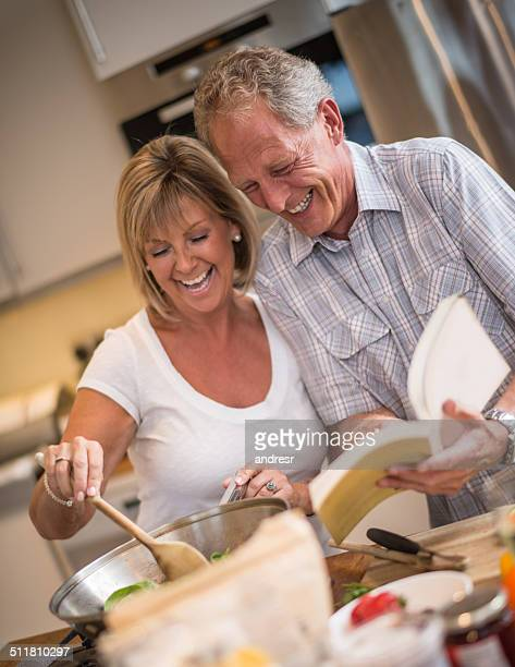 Loving couple cooking together