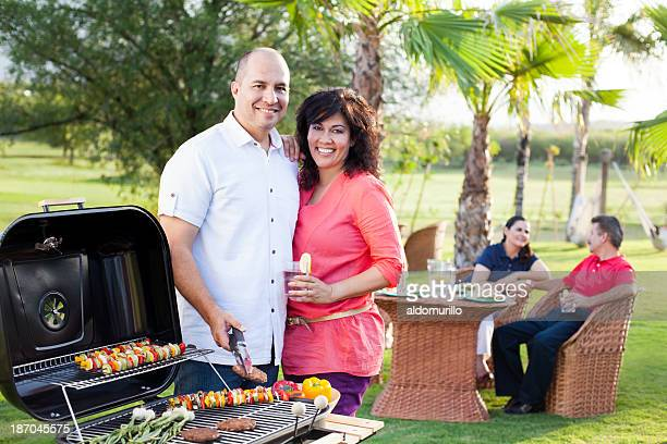 Loving couple enjoying a barbecue