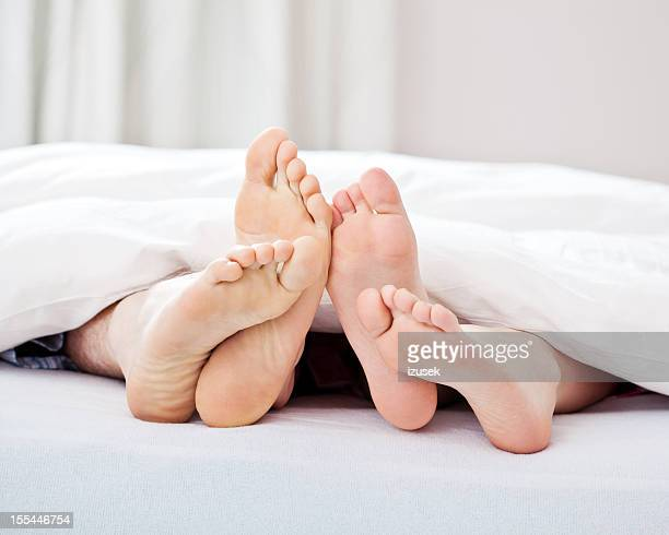 Loving couple feet