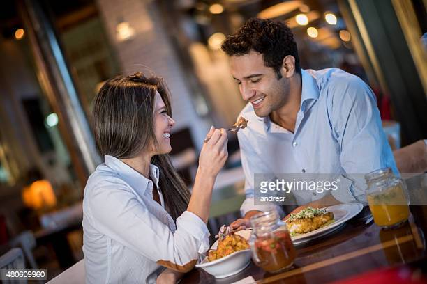Loving couple in a romantic dinner