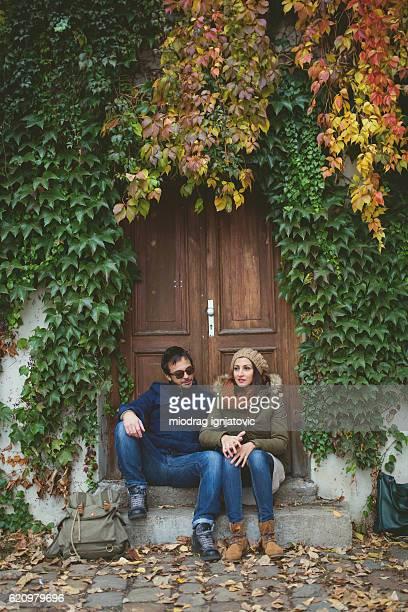 Loving couple in Prague