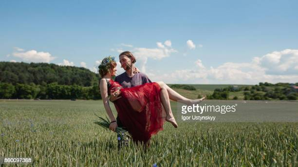 Loving couple in the field