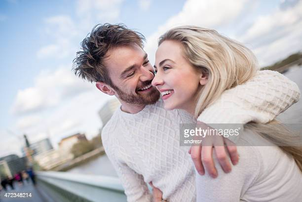 Loving couple outdoors in the city