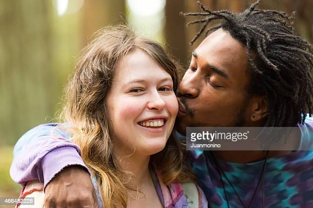 loving couple - black men kissing white women stock photos and pictures