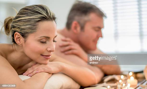 Loving couple relaxing at the spa