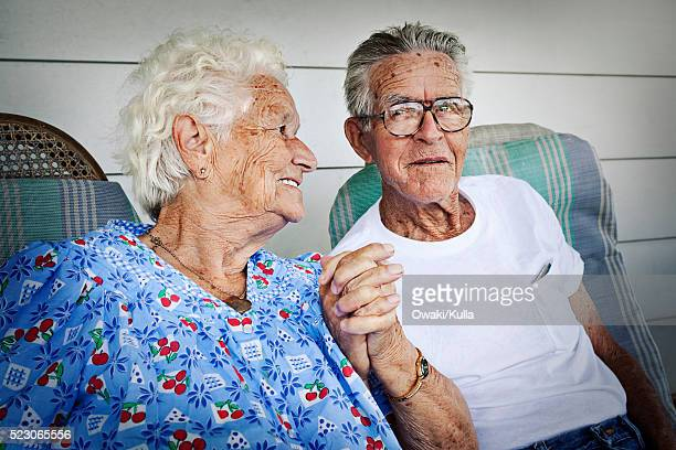 Loving elderly couple