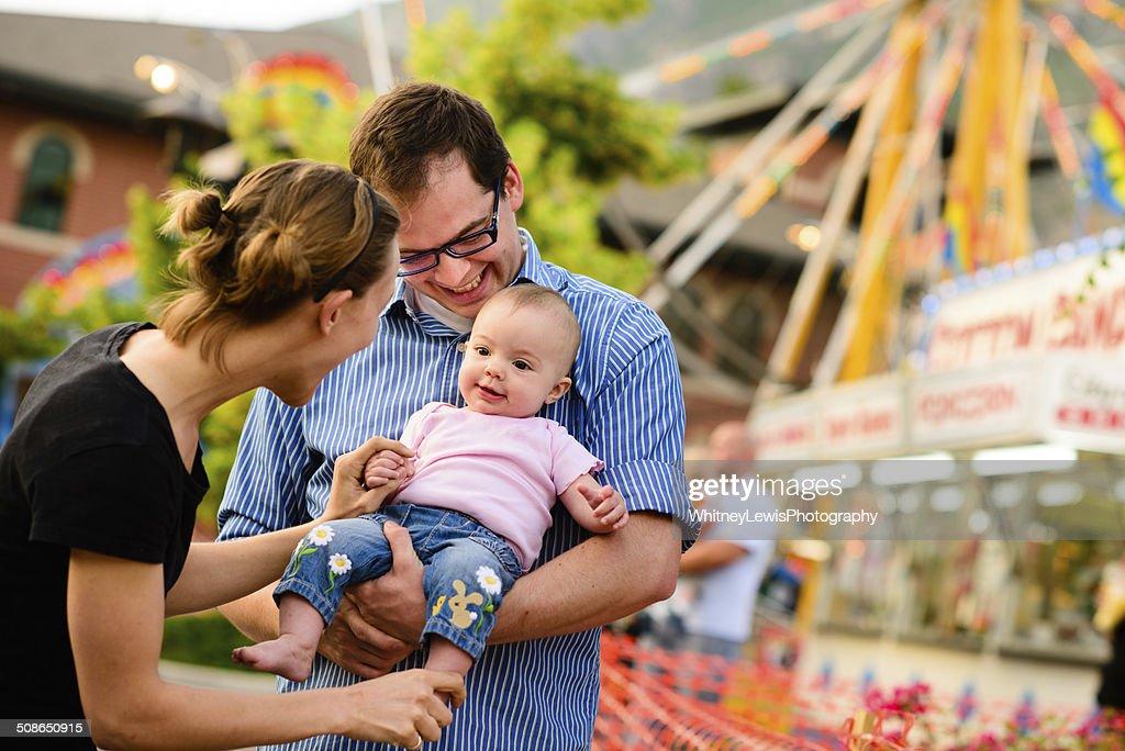 Loving Family at the Fair : Stock Photo