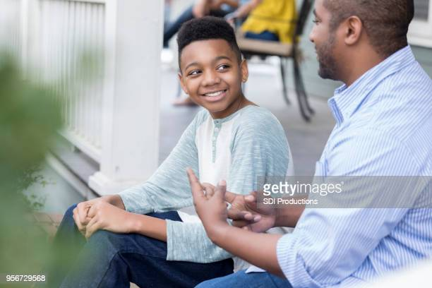 Loving father gives tween son advice