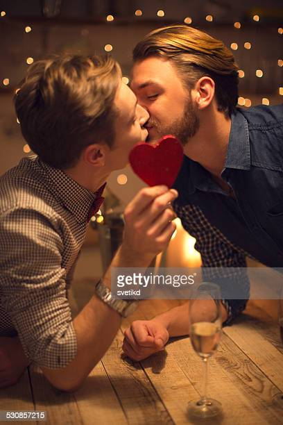Loving gay couple celebrating Valentine's day.
