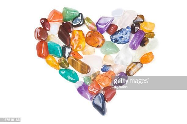 Liebevoll Gems-Herz aus Halbedelstein Steinen