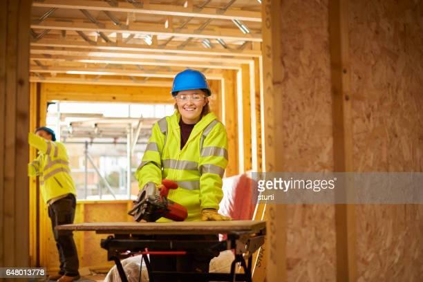 loving her job in construction