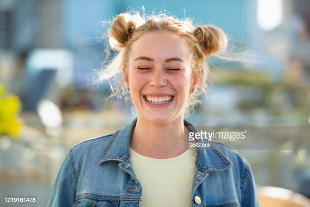 loving life - nose piercing stock pictures, royalty-free photos & images