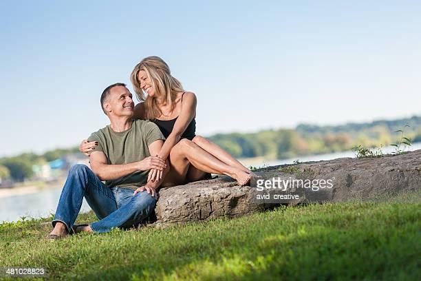 Loving Mature Couple in Park