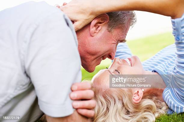 Loving mature couple looking at each other