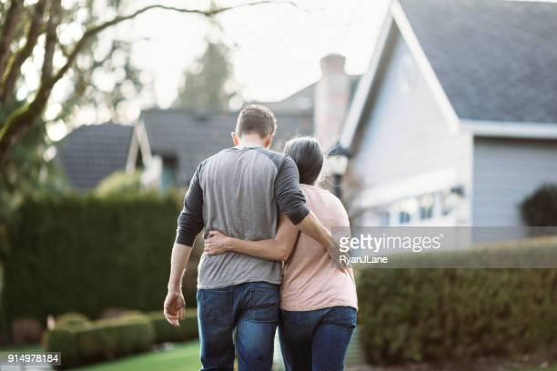Loving Mature Couple Walking Outdoors