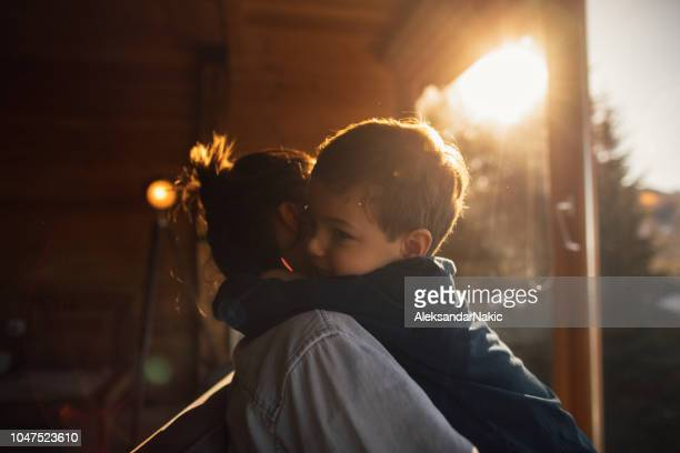 loving my boy - single mother stock photos and pictures