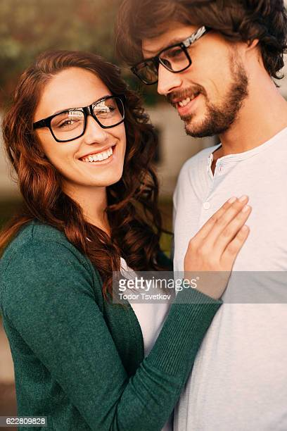 Loving nerd couple