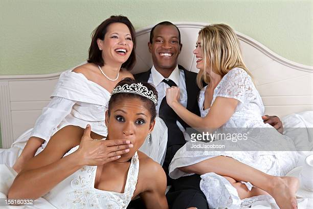 loving polygamy - interracial wife photos stock photos and pictures