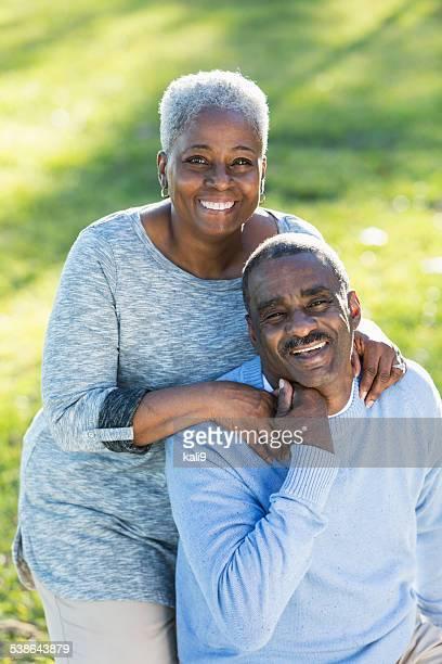 Loving senior African American couple