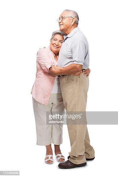 Liebevoll altes Paar umarmen einander