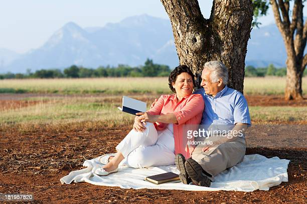 loving senior couple in nature - mexican picnic stock pictures, royalty-free photos & images