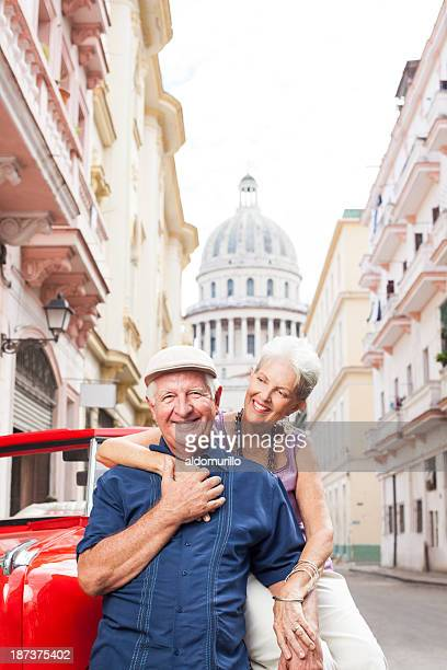 Loving senior couple on vacations