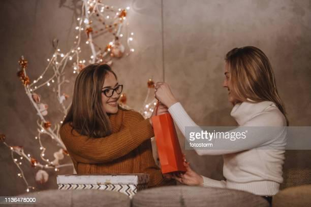 愛情の姉妹はクリスマスプレゼントを交換