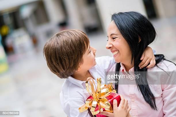 Loving son with his mum