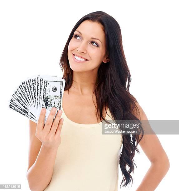 Loving the feel of her money