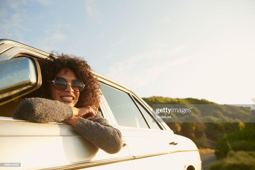 Loving this road trip! : Stockfoto