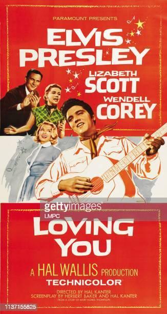 Loving You, poster, from left: Wendell Corey, Dolores Hart, Lizabeth Scott, Elvis Presley, 1957.