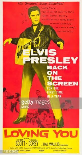 Loving You, poster, top: Elvis Presley, bottom: Dolores Hart, Elvis Presley, Lizabeth Scott on poster art, 1957.