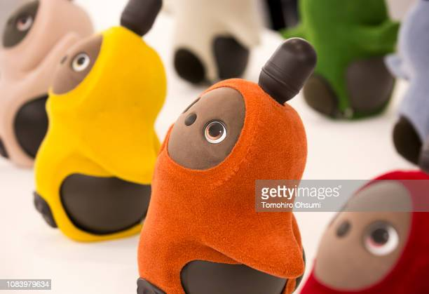 Lovot robots developed by Groove X Inc are displayed during an unveiling event on December 18 2018 in Tokyo Japan Groove X a Japanese startup company...