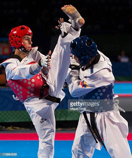 Lovre Brecic of Croatia competes against Cleiver Olaizola of Venezuela during a Men's 54 kg combat of WTF World Taekwondo Championships 2013 at the...