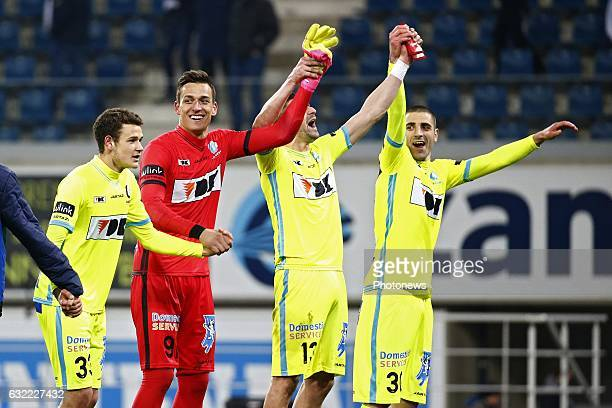 Lovre Kalinic goalkeeper of KAA Gent and Stefan Mitrovic defender of KAA Gent and Darko Bejdov forward of KAA Gent celebrates during the Jupiler Pro...