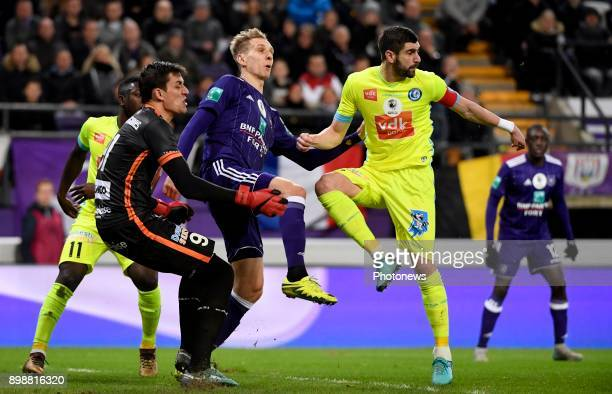 Lovre Kalinic goalkeeper of KAA Gent and Stefan Mitrovic defender of KAA Gent with Lukasz Teodorczyk forward of RSC Anderlecht during the Jupiler Pro...