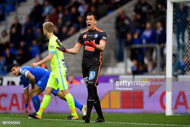 Lovre Kalinic goalkeeper of KAA Gent reacts angry during the Jupiler Pro League PlayOff 1 match between KRC Genk and KAA Gent at the Luminus Arena on...