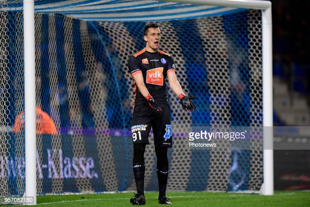 Lovre Kalinic goalkeeper of KAA Gent reacts during the Jupiler Pro League PlayOff 1 match between KRC Genk and KAA Gent at the Luminus Arena on May...