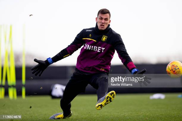 Lovre Kalinic of Aston Villa in action during a training session at Bodymoor Heath training ground on January 31 2019 in Birmingham England